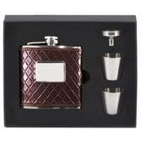 Vision Brown leather wrapped Flask</br>HF011