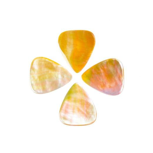 Shell Tones Gold Mother of Pearl 4 Guitar Picks