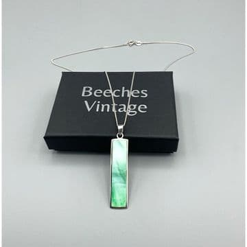 Green Mother of Pearl Pendant Necklace, Italian 925 Silver