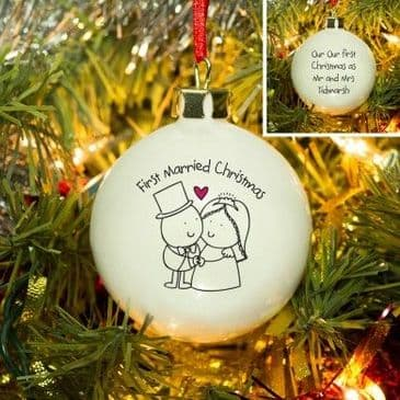 Chilli & Bubble's First Married Christmas Bauble