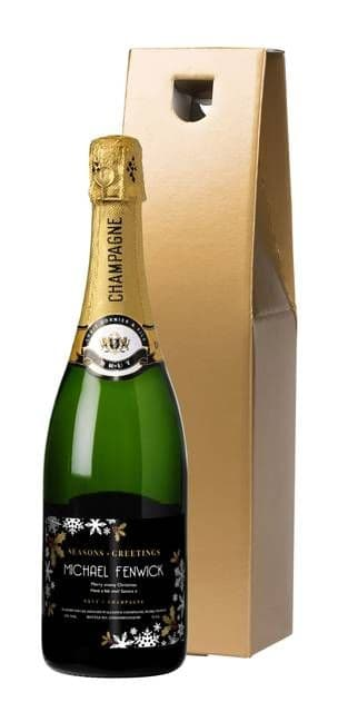 Christmas Snowflakes Champagne in a Gold Gift box