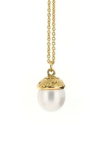 Silver Acorn Pearl Necklace