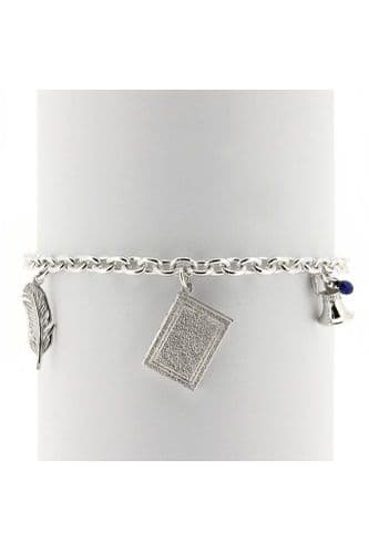 Silver Book & Quill Bracelet