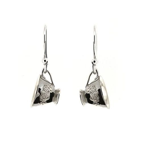 Silver Teacup Earrings
