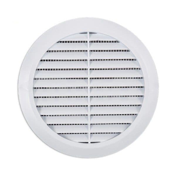"Air Vent Grille Circle 125mm 5"" White Round Wall Ventilation Grille Cover T32 with Fly sreen"