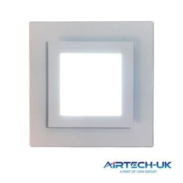 """Bathroom Ceiling Extractor Fan 100mm/ 4"""" with Square 12 W LED Light"""