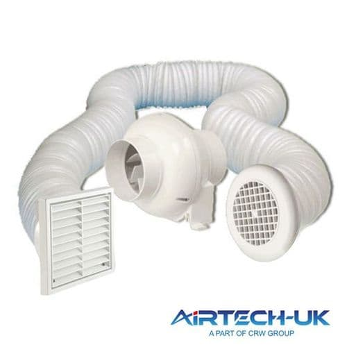 """Inline 4"""" 100mm Centrifugal Bathroom Loft Mounted Extractor Fan Kit with or without Timer"""
