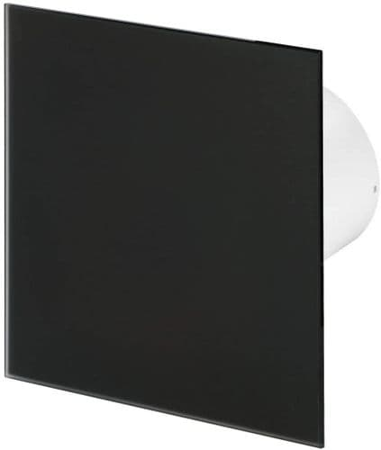 """Silent Bathroom Extractor Fan Black Glass Front Panel 100mm / 4"""" Option of Cord Timer Humidistat"""