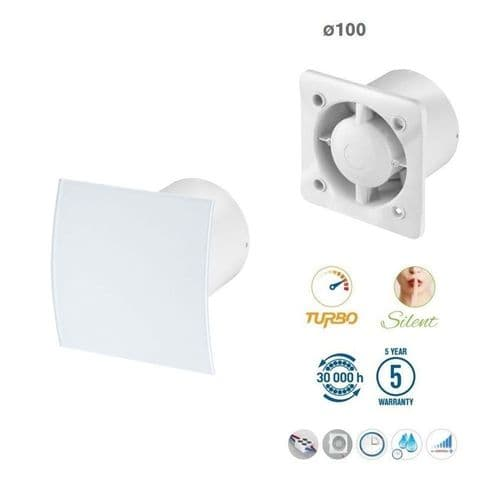 "Silent Bathroom Extractor Fan White Glass Front Panel 100mm / 4"" Option of Cord Timer Humidistat"