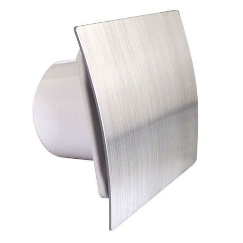 "Silver Bathroom Extractor Fan 100mm / 4"" Modern Ventilator Shower Kitchen Escudo Front Panel"