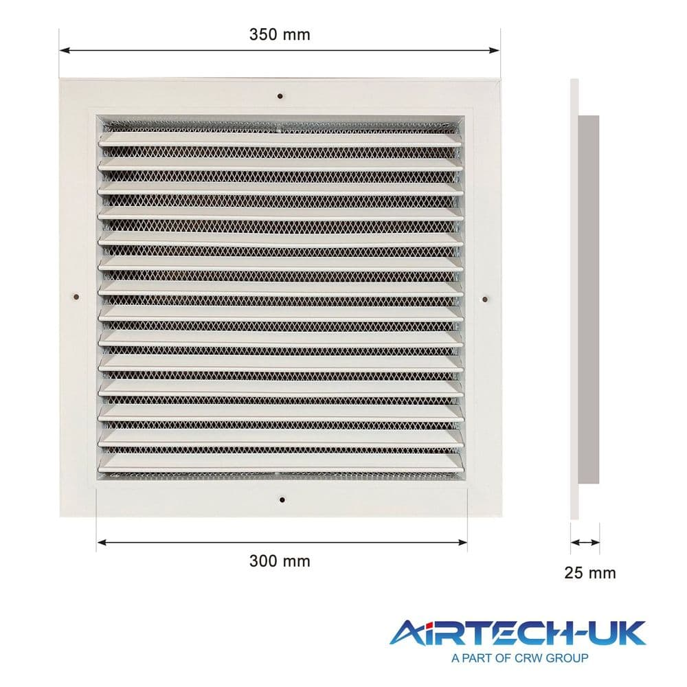 White Aluminum Fixed  Louvre Wall Grille With Bird Mesh