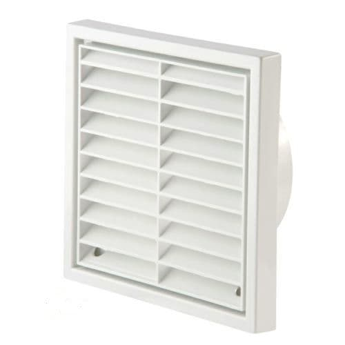 """White Fixed Louvre Grill External Grille Vent  4"""" 100mm"""