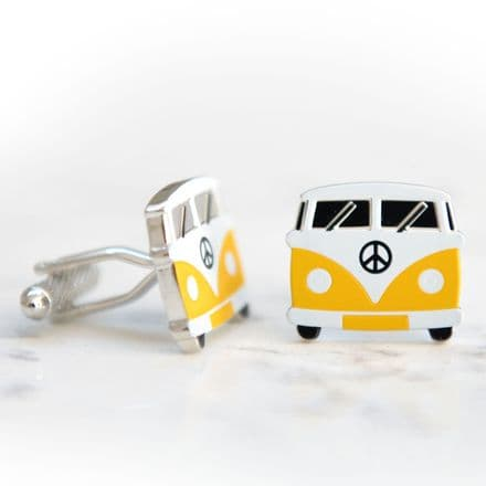 Camper Van Cufflinks Yellow