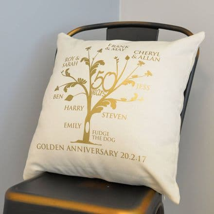 Metallic Golden Anniversary Family Tree Cushion