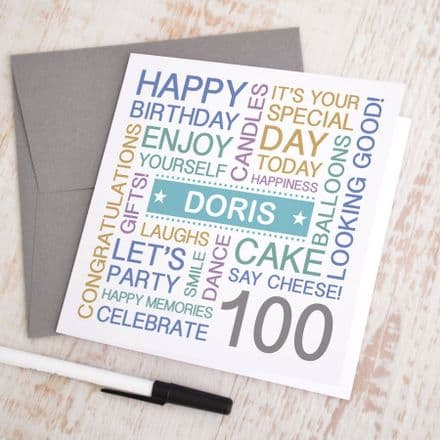 Personalised 100th Birthday Card