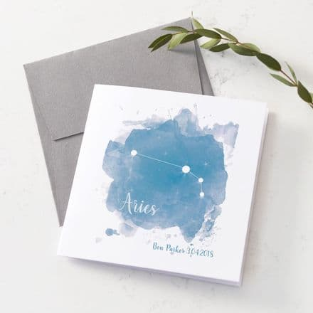 Personalised Aries Star Sign Card
