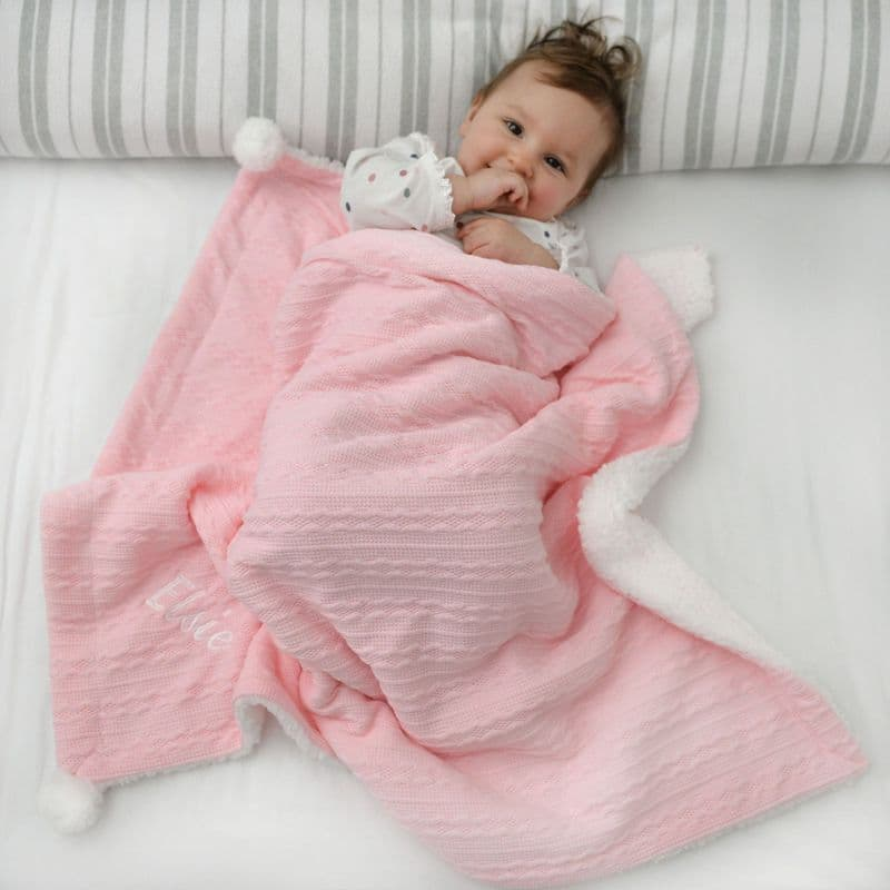 Personalised Baby Pink Cable Knit Pom Pom Blanket