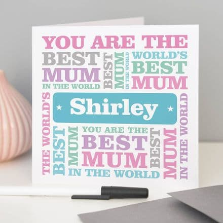 Personalised 'Best Mum' Mother's Day Card