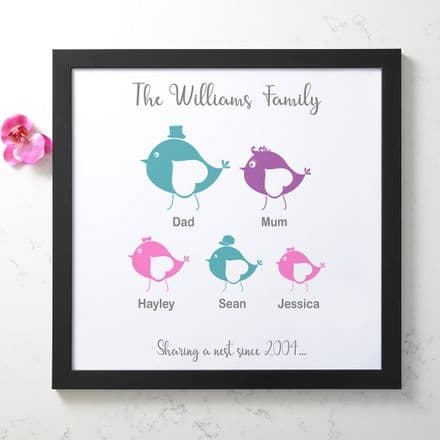 Personalised Birdie Family Tree Art