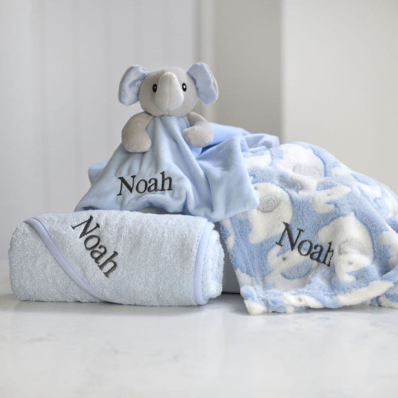 Personalised Blue Elephant Blanket, Comforter And Towel