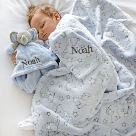 Personalised Blue Elephant Motif Blanket And Comforter