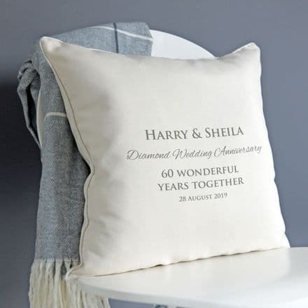 Personalised Diamond Wedding Anniversary Cushion
