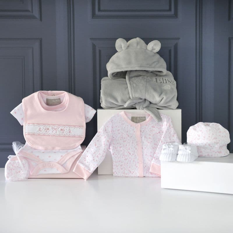 Personalised Ears Gown And Pink Baby Gift Set