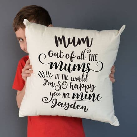 Personalised Happy You Are My Mum Neutral Cushion