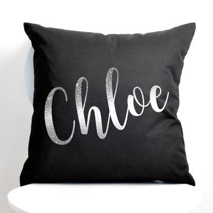 Personalised Metallic Silver Name Black Cushion