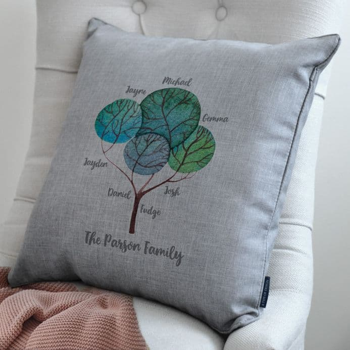 Personalised Modern Family Tree Cushion