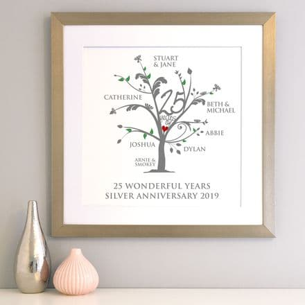 Personalised Silver Anniversary Family Tree Art