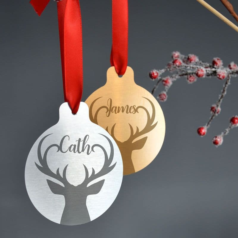Personalised Silver Or Gold Metal Stag Christmas Bauble