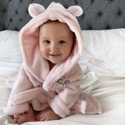 Personalised Soft Baby Pink Dressing Gown With Ears