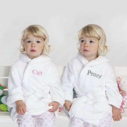 Personalised Twins Soft Child's Dressing Gowns In White