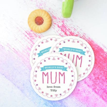 Personalised 'World's Best Mum' Coasters