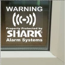 1 x Shark Property Protected Stickers-Monitored Alarm System for Windows-24hr Security Warning Signs for House,Home,Flat,Business,Unit,Property-Self Adhesive Vinyl