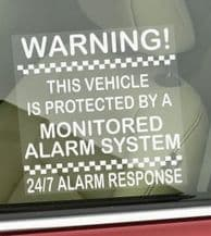 1 x 87mm Window Sticker-Vehicle Protected by a Monitored Alarm System-Car,Motorbike,Bike,Van,Truck,Taxi,Coach,Minicab,Mini-247 Response-Security Signs