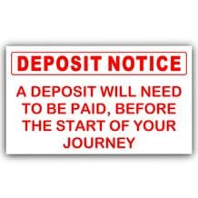 1 x A Deposit will need to be Paid-Red on White-Taxi,Minicab,Minibus Sticker - Warning Vinyl Sign
