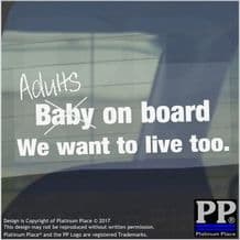 1 x Adults on Board Sticker-Car,Van,Window Warning Sign-Fun Baby,Child,Kid,Gift