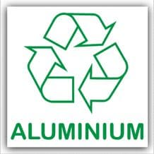 1 x Aluminium-Recycle Self Adhesive Vinyl Bin Waste Sticker-with Recycling Logo Sign
