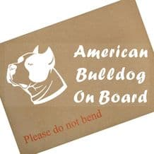 1 x American Bulldog-Dog On Board Sticker-Car,Van,Truck,Animal,Bull Dog,Pet-Window Sign