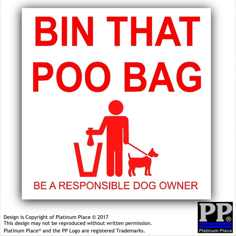 1 x Bin That Poo Bag Warning Stickers-Poo Mess,Dog,Pet,Puppy Self Adhesive Signs, Responsible Dog Owner,Clean,Walk,Poop