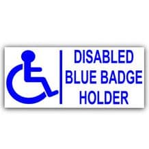1 x Blue Badge Holder-EXTERNAL-Disabled Car Sticker -Disability Wheelchair- Mobility Self Adhesive Sign