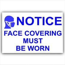 1 x BLUE Sticker Face Covering Must Be Worn Door Shop  Mask Sign Covid-19 Coronavirus
