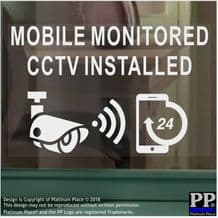 1 x CCTV-Mobile Monitored Installed-WINDOW-130x87mm-Security Warning Camera Sign Stickers