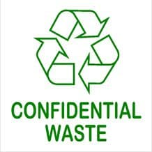 1 x Confidential Waste Sticker Recycling Bin Sign Recycle Logo Environment Label
