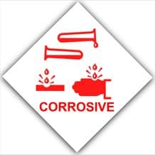 1 x Corrosive-Red on White,External Self Adhesive Warning Stickers-Health and Safety Sign