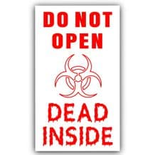 1 x Do Not Open Dead Inside-Red/White-The Walking Dead-Car,Van,Truck,Self Adhesive Vinyl Sign