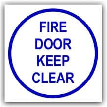 1 x Fire Door Keep Clear-87mm,Blue on White-Health and Safety Security Door Warning Sticker Sign-87mm,Blue on White-Health and Safety Security Door Warning