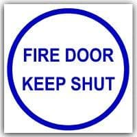 1 x Fire Door Keep Shut Stickers-Blue on White-Health and Safety-Self Adhesive Vinyl Signs-87mm
